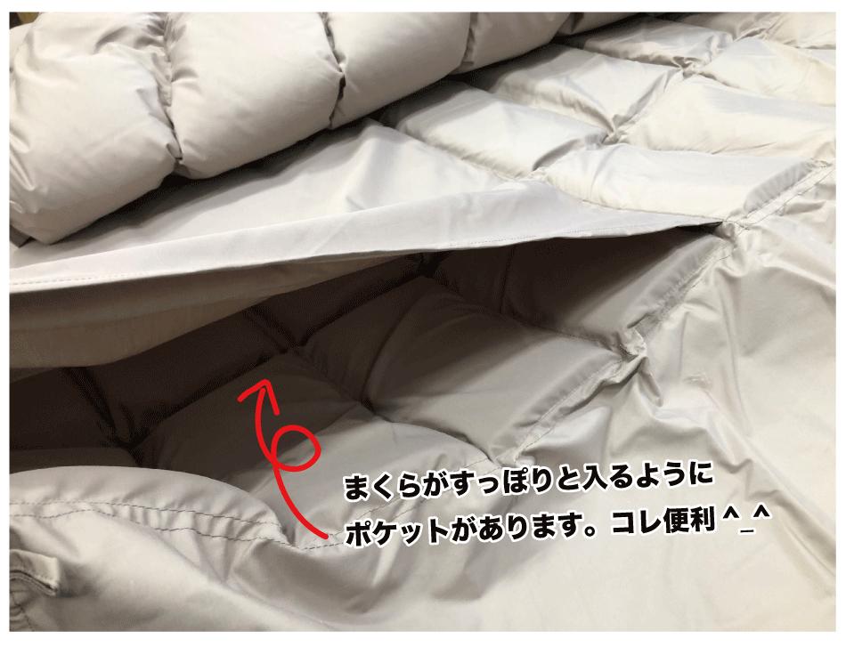 枕がはいるポケットあり